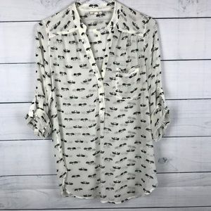 Pleione Swan Roll Tab Popover Tunic Sheer Sz Small